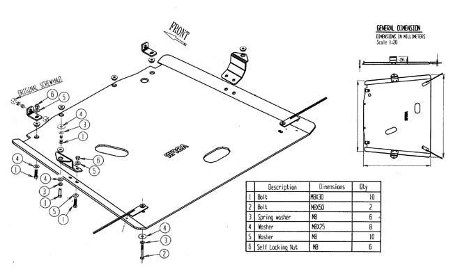 Mitsubishi Pajero V60, '01+ gear skid plate, automatic > MITSUBISHI